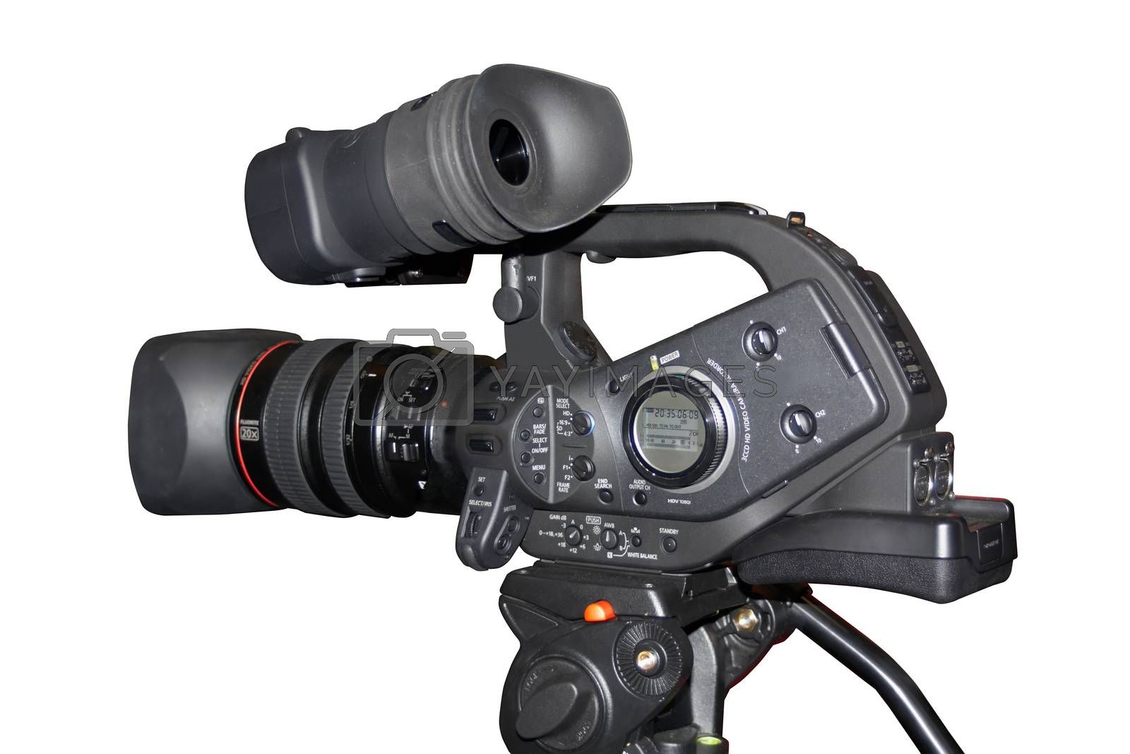 professional digital camcorder on a tripod on a white background