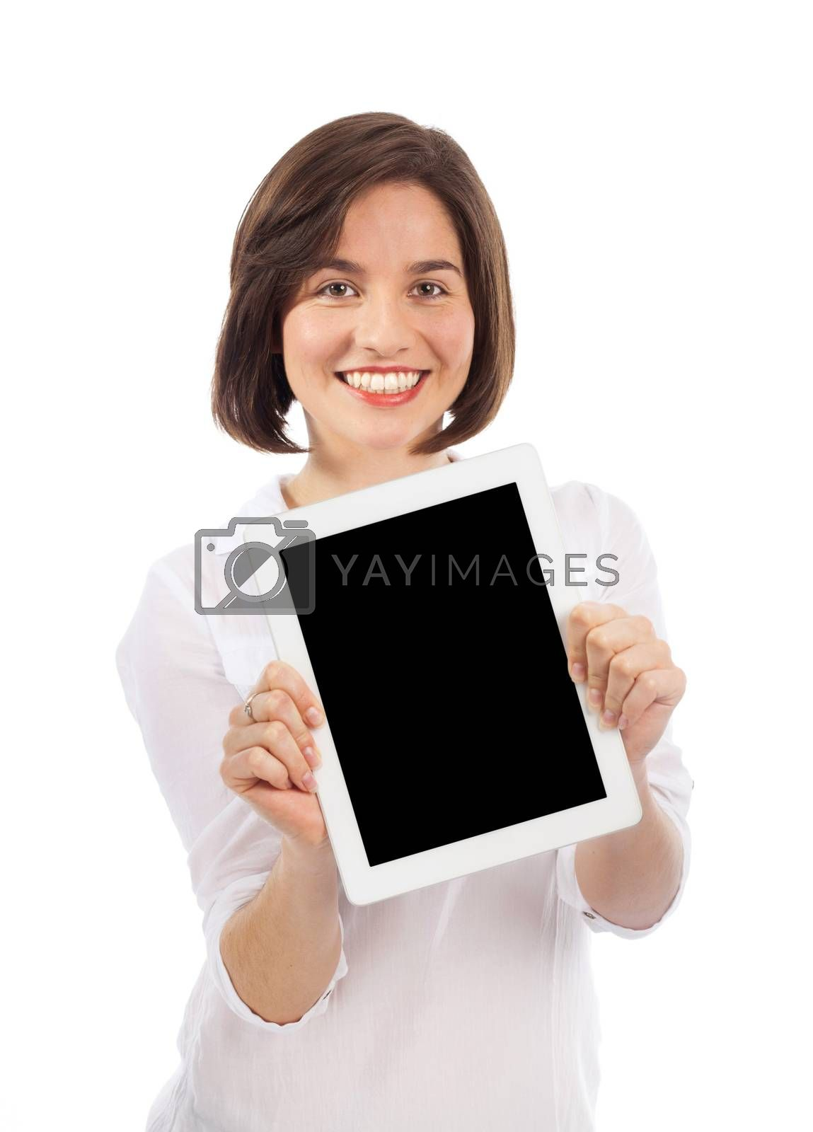 Young brunette presenting a blank touchpad, communication concept, isolated on white