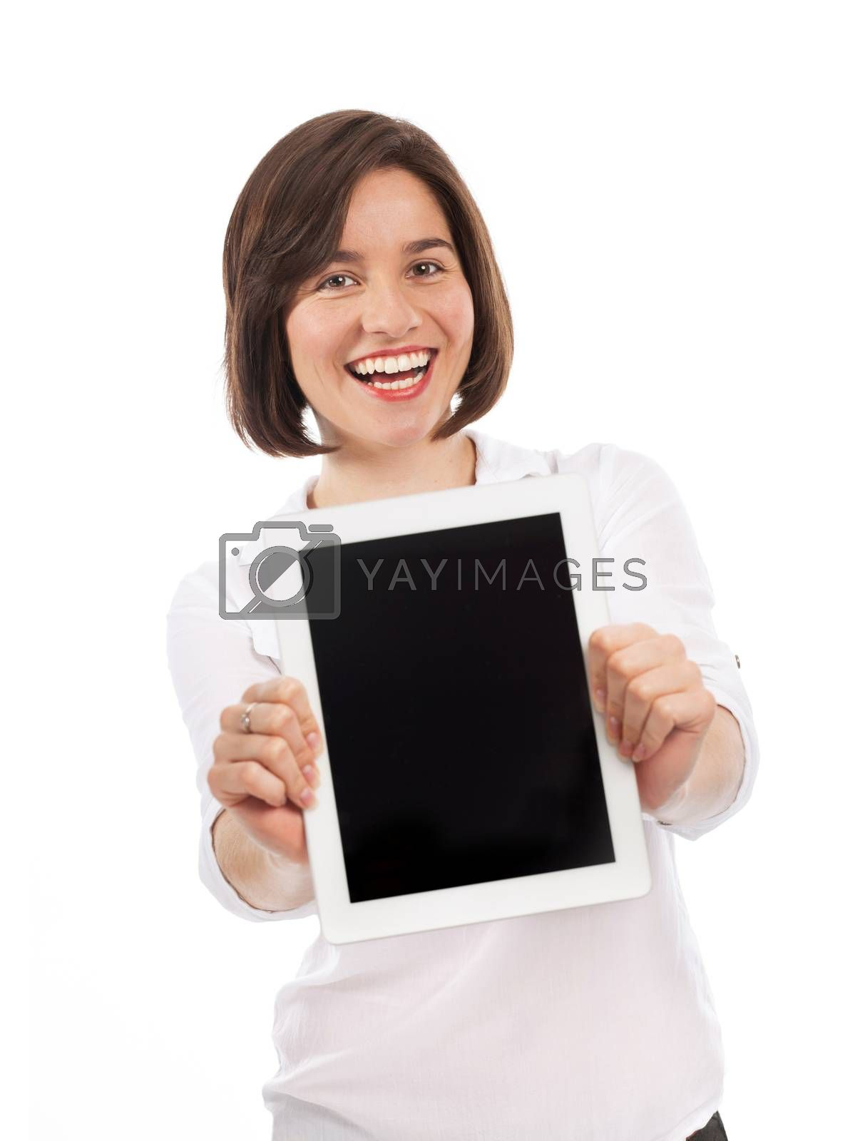 Young woman presenting a blank touchpad, communication concept, isolated on white