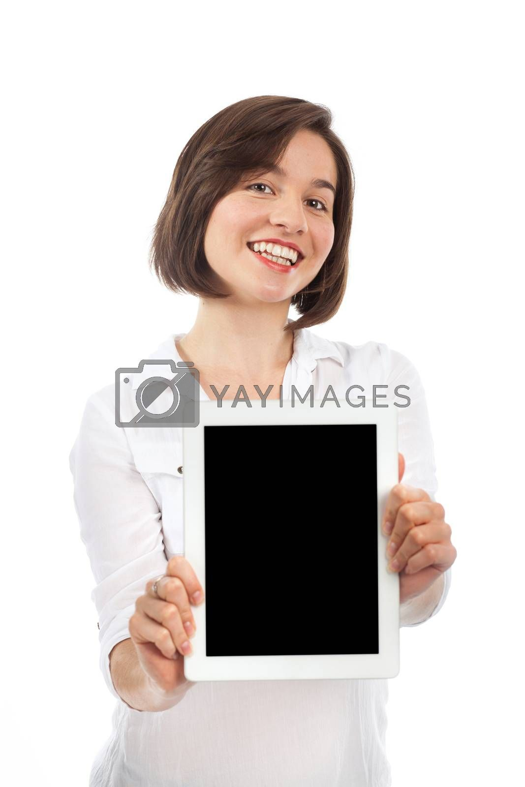 Young brunette showing a blank touchpad, communication concept, isolated on white