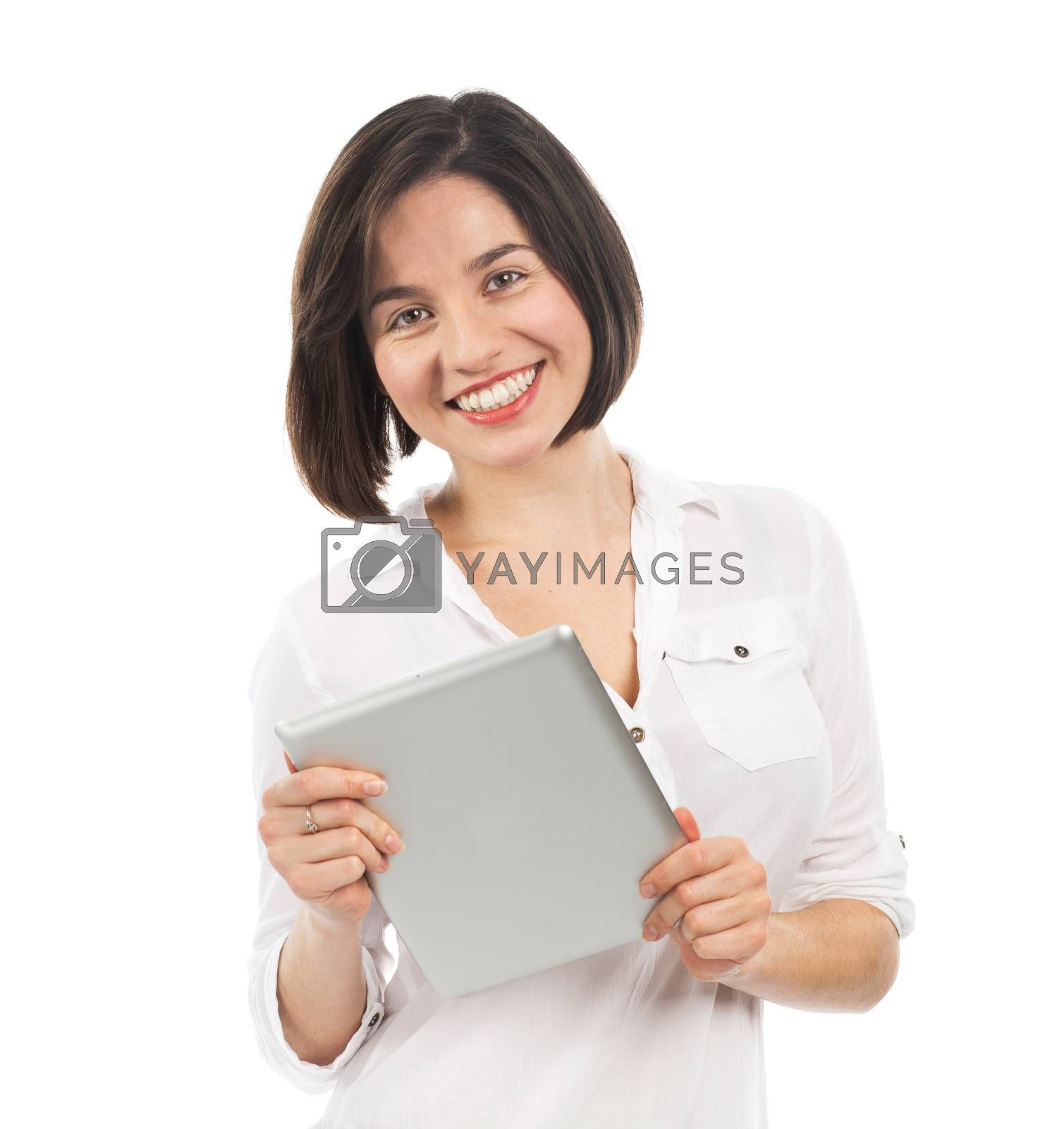 Young smiling woman using an electronic tablet, isolated on white