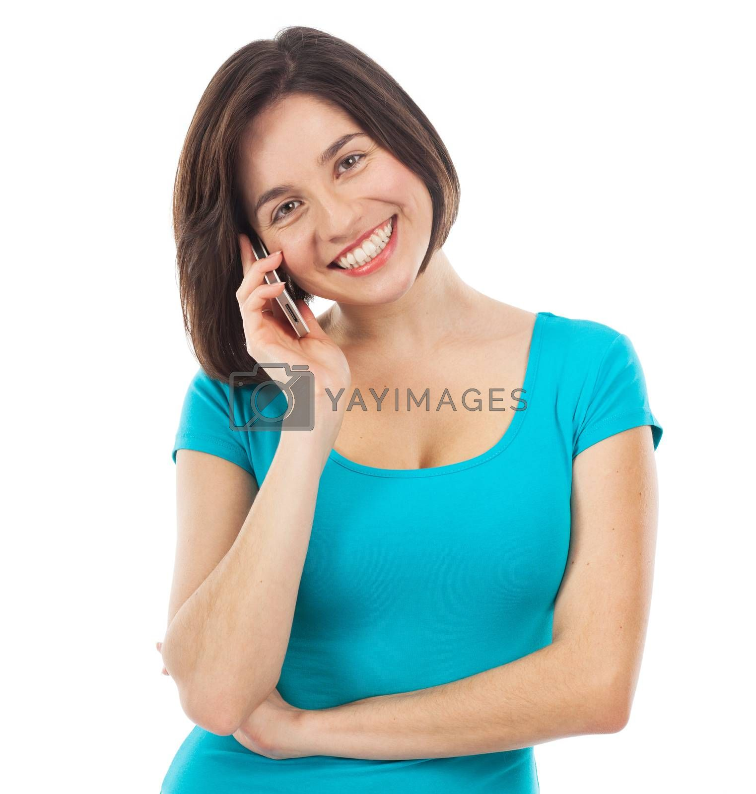Pretty woman on the phone, isolated on white