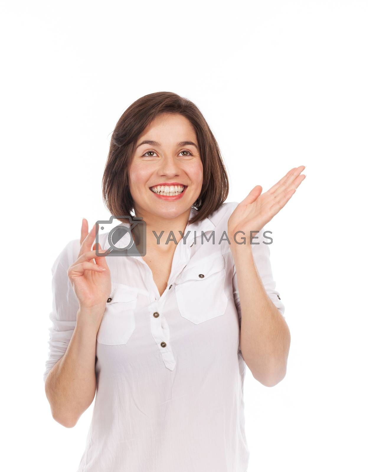 Portrait of a young woman looking very joyful, isolated on white