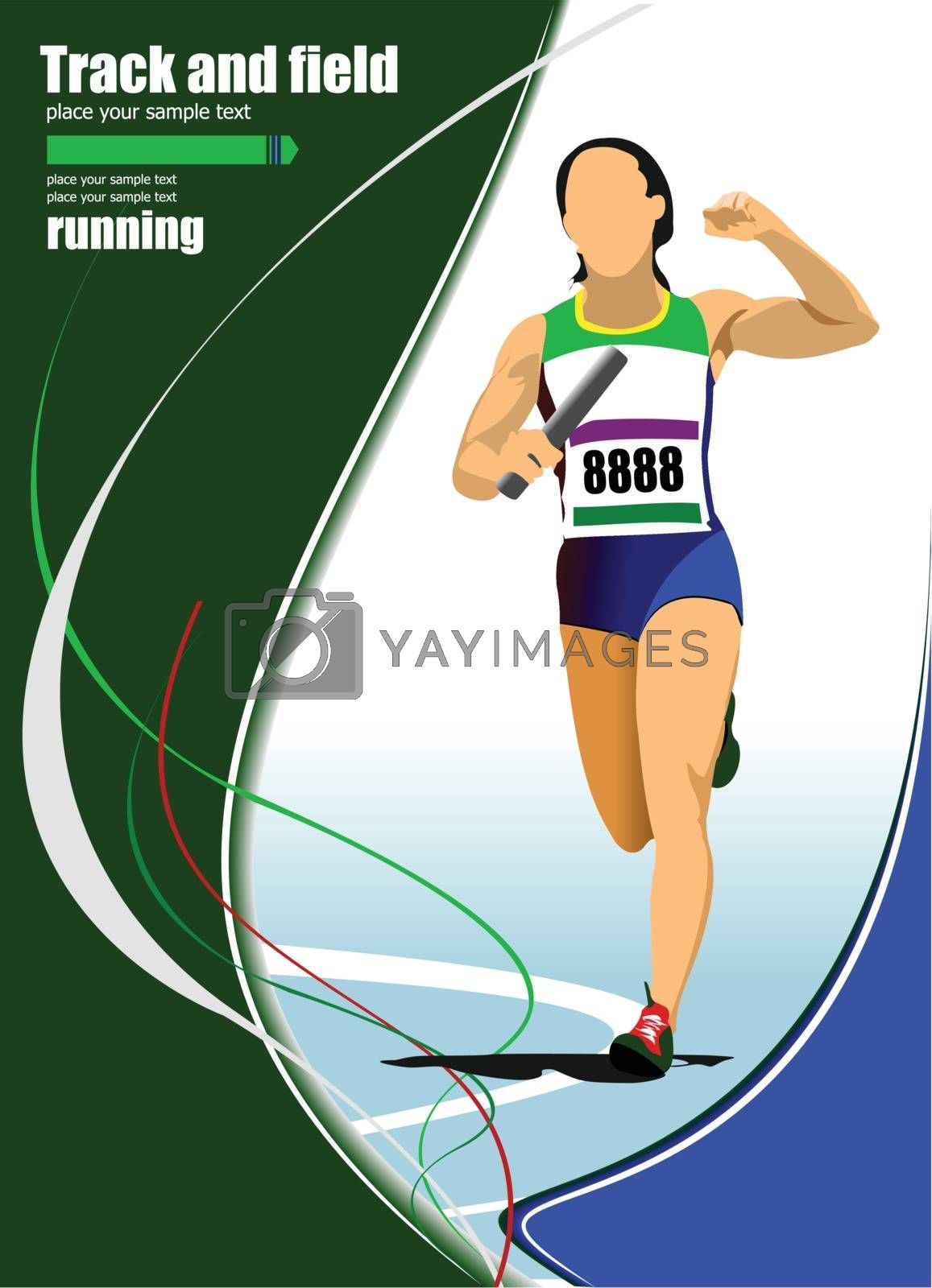Royalty free image of Short-distance runner. Raley. Vector illustration by leonido