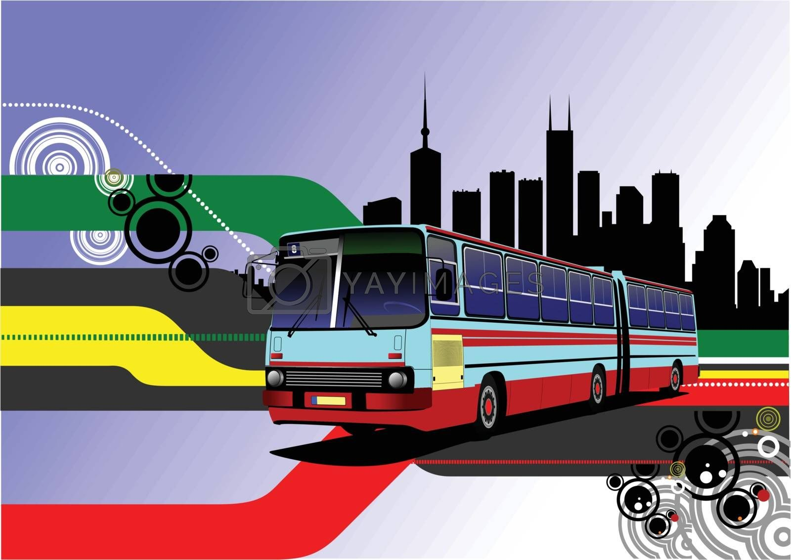 Royalty free image of City panorama with  bus image. Coach. Vector illustration by leonido