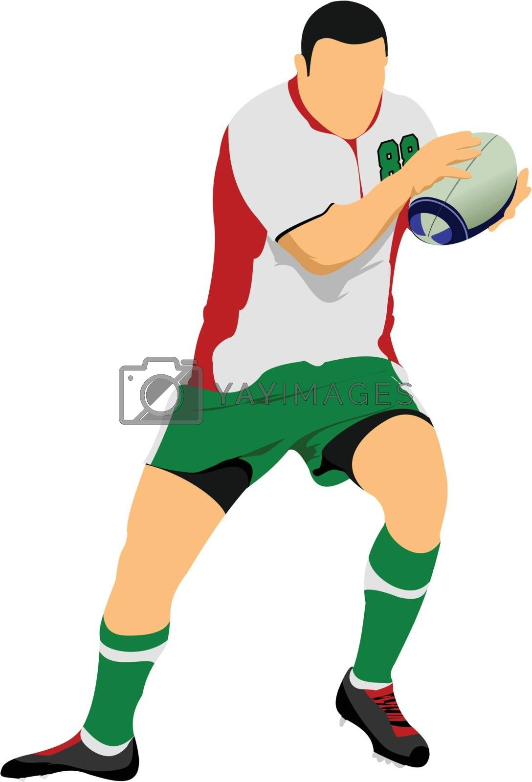 Royalty free image of Rugby Player Silhouette. Vector illustration by leonido