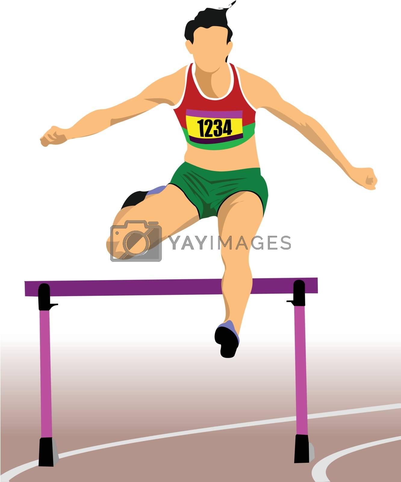 Royalty free image of Woman running hurdles. Vector illustartion by leonido