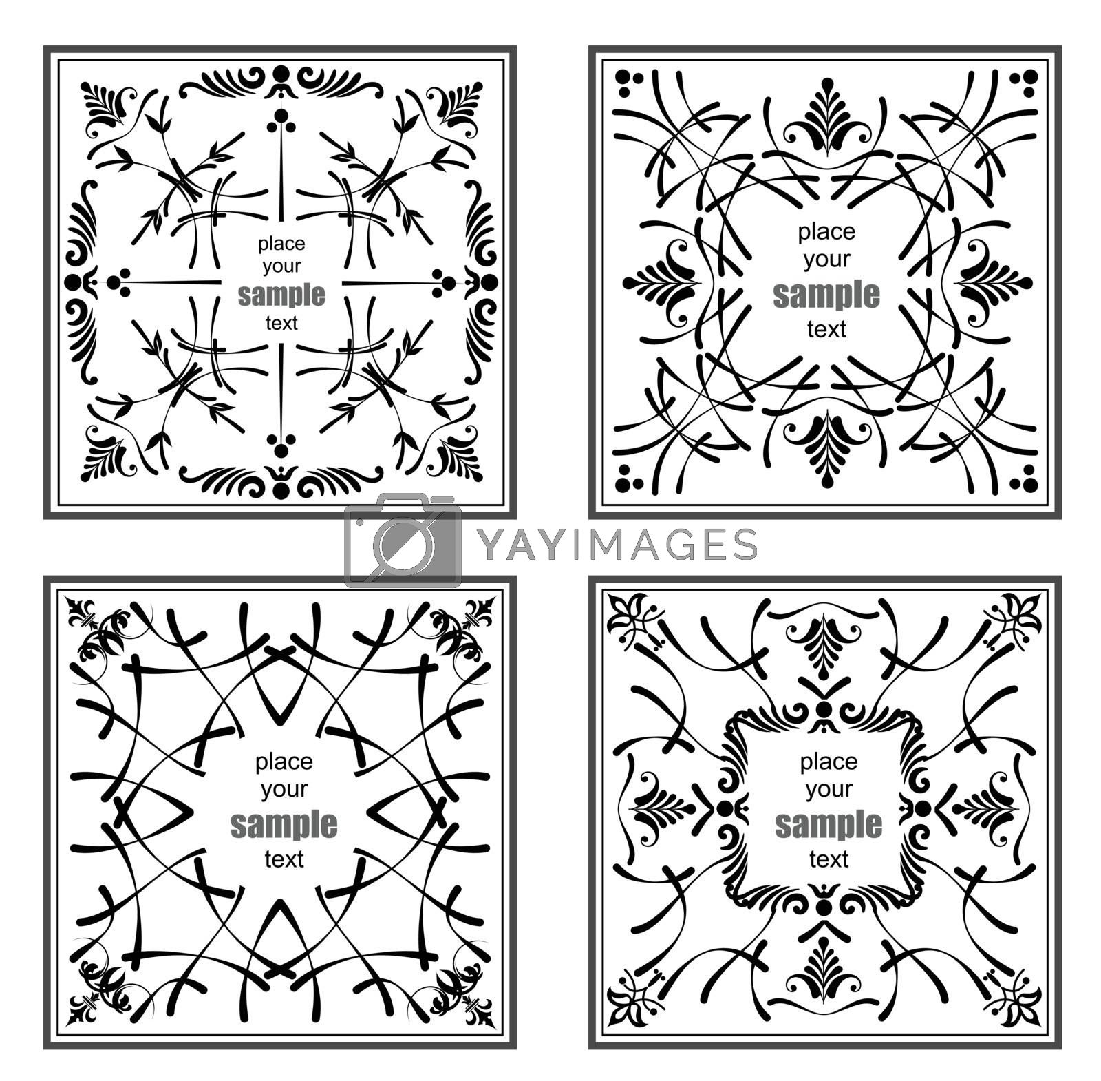Royalty free image of Four black ornaments on white background. Can be used as invitat by leonido