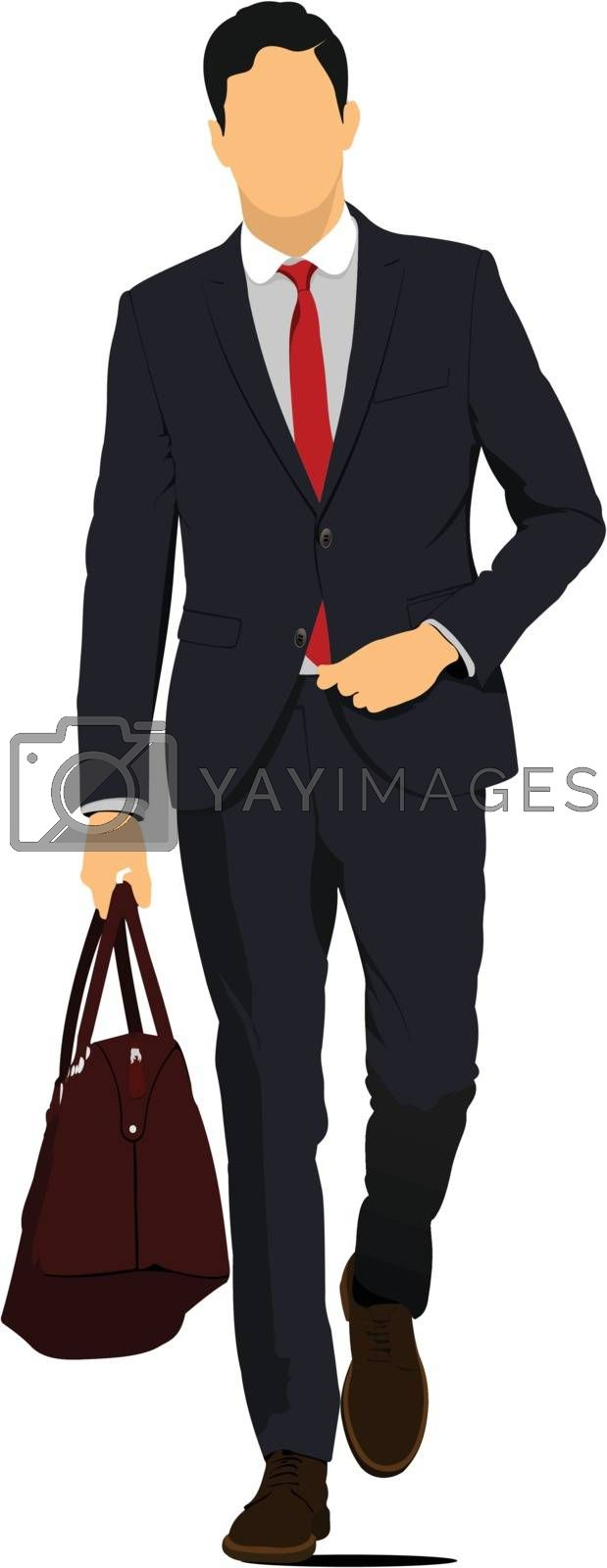 Royalty free image of Young handsome man with brown bag. Businessman.Vector illustrati by leonido