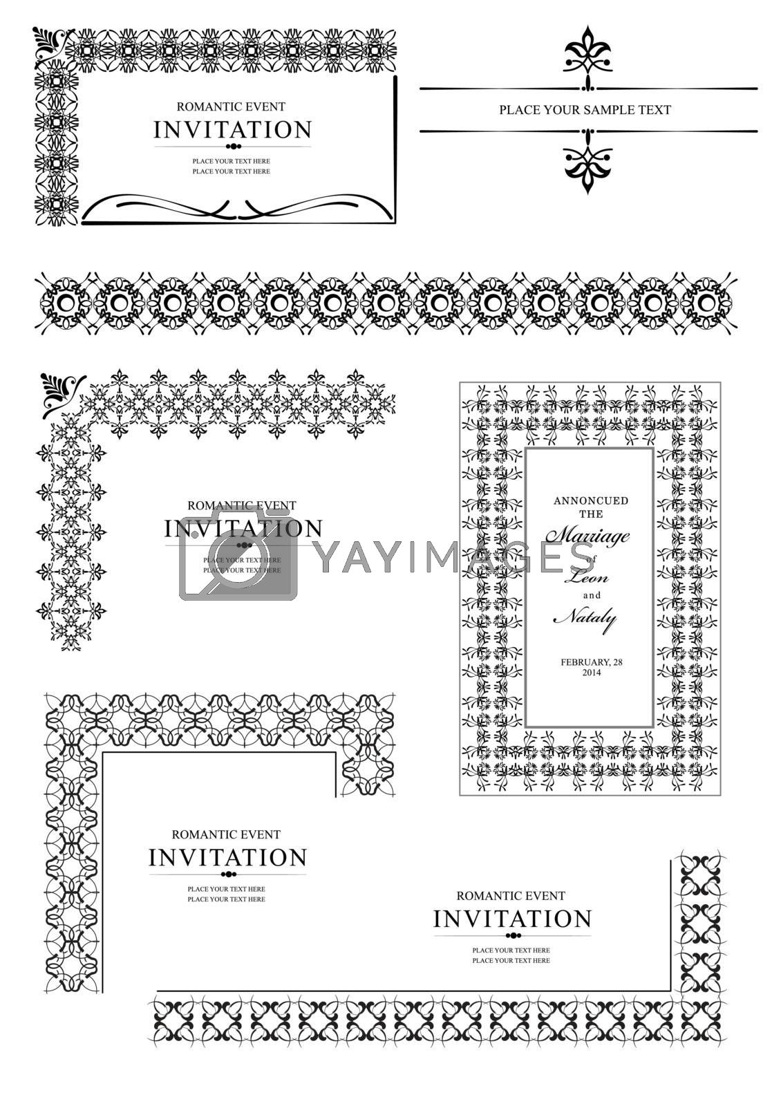 Royalty free image of Collection of Ornamental corners in vintage Design styles by leonido