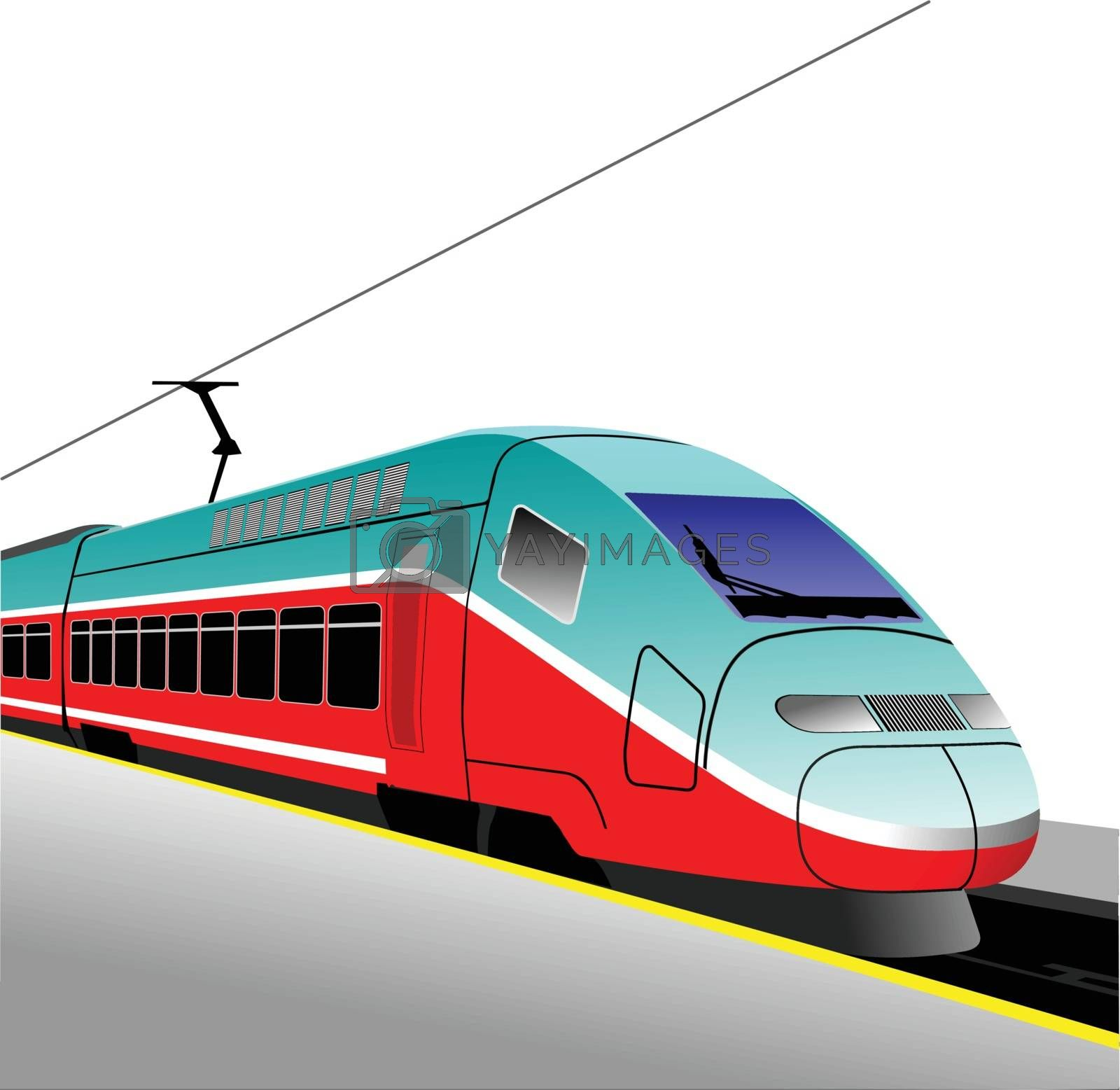 Royalty free image of Red-blue modern speed bullet train. Fast suburban, subway, metro by leonido