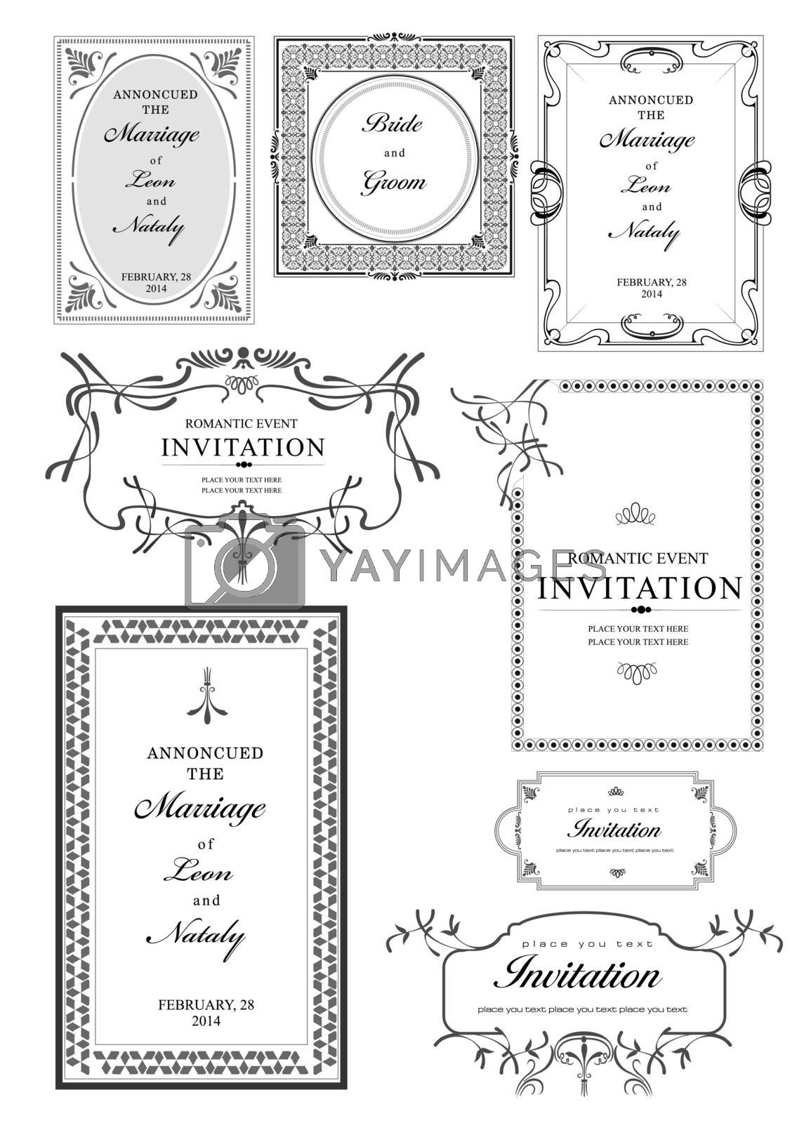Royalty free image of Set of ornate vector frames and ornaments with sample text. Perf by leonido