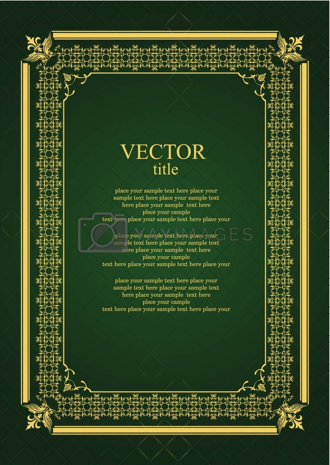 Royalty free image of Gold ornament on deep green background. Can be used as invitatio by leonido