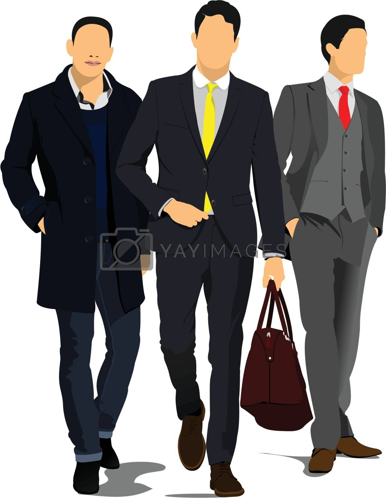 Royalty free image of Three Young handsome men. Businessman.Vector illustration by leonido