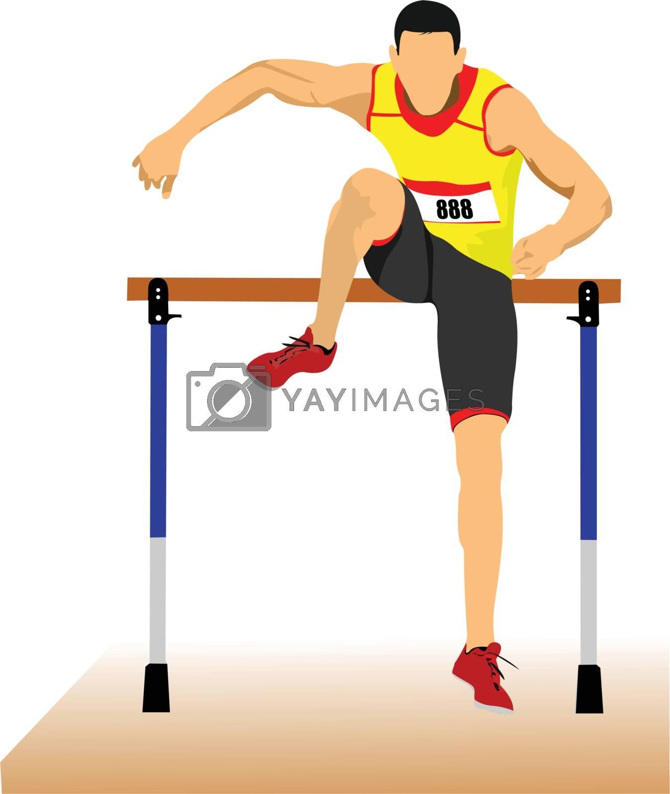 Royalty free image of Man running hurdles. Vector illustartion by leonido