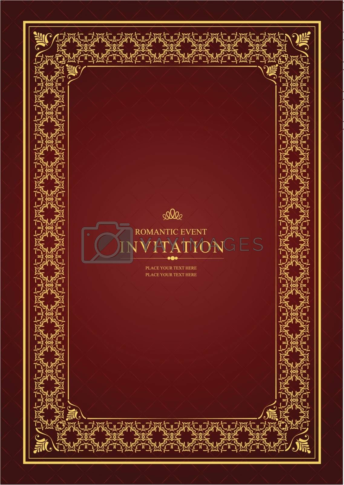 Royalty free image of Gold ornament on brown background. Can be used as invitation car by leonido