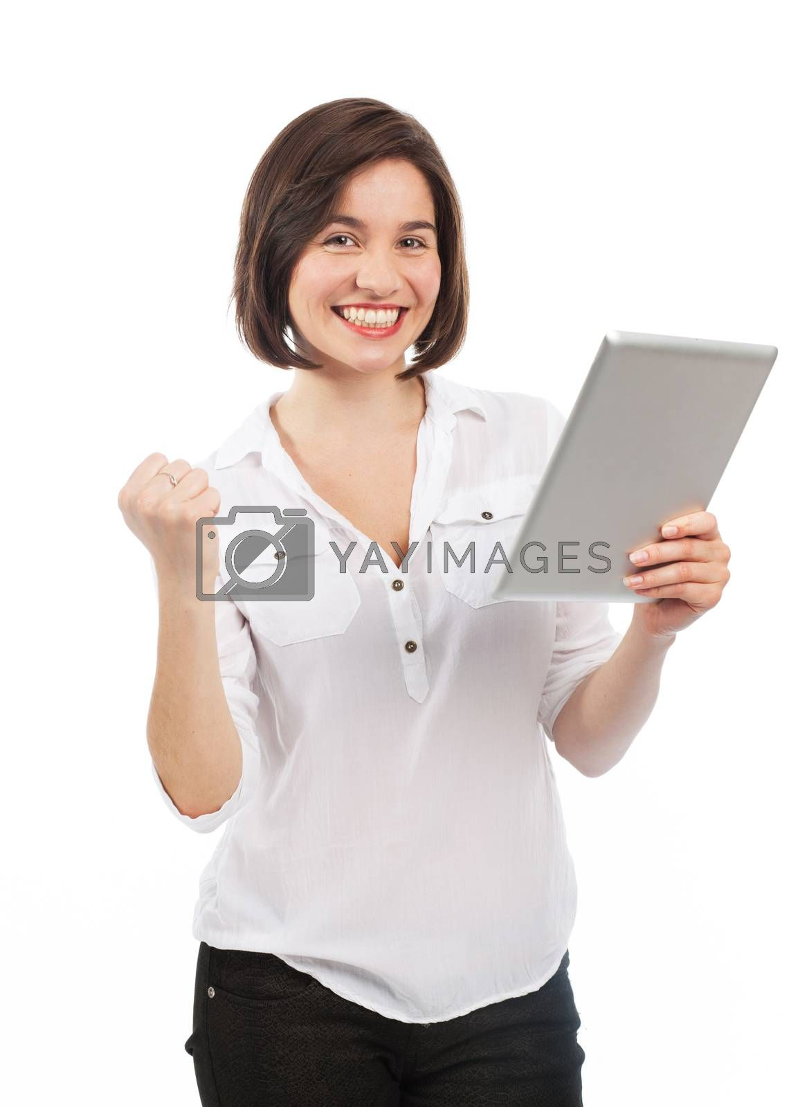 Successful woman using an electronic tablet, isolated on white