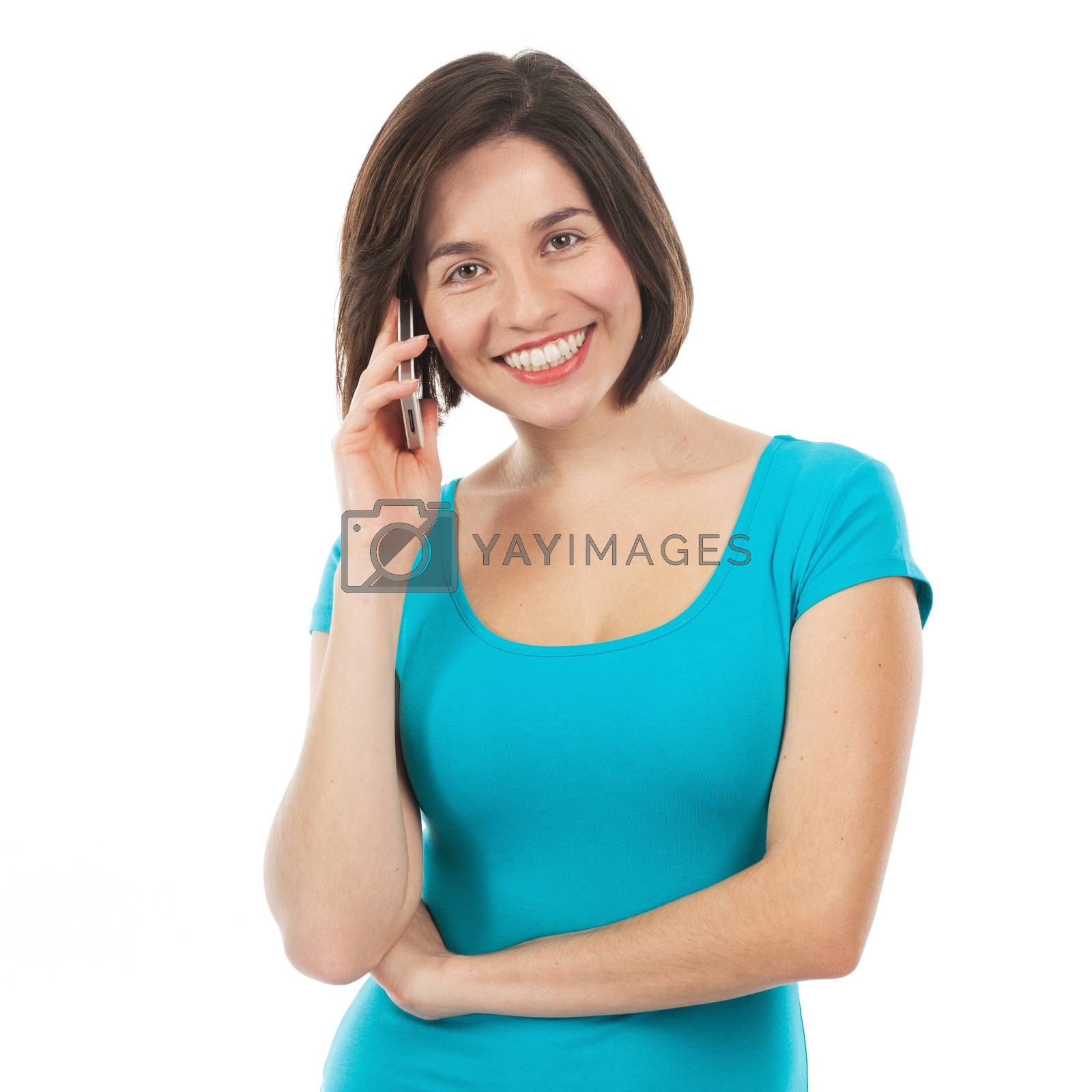 Smiling brunette talking on the phone, isolated on white