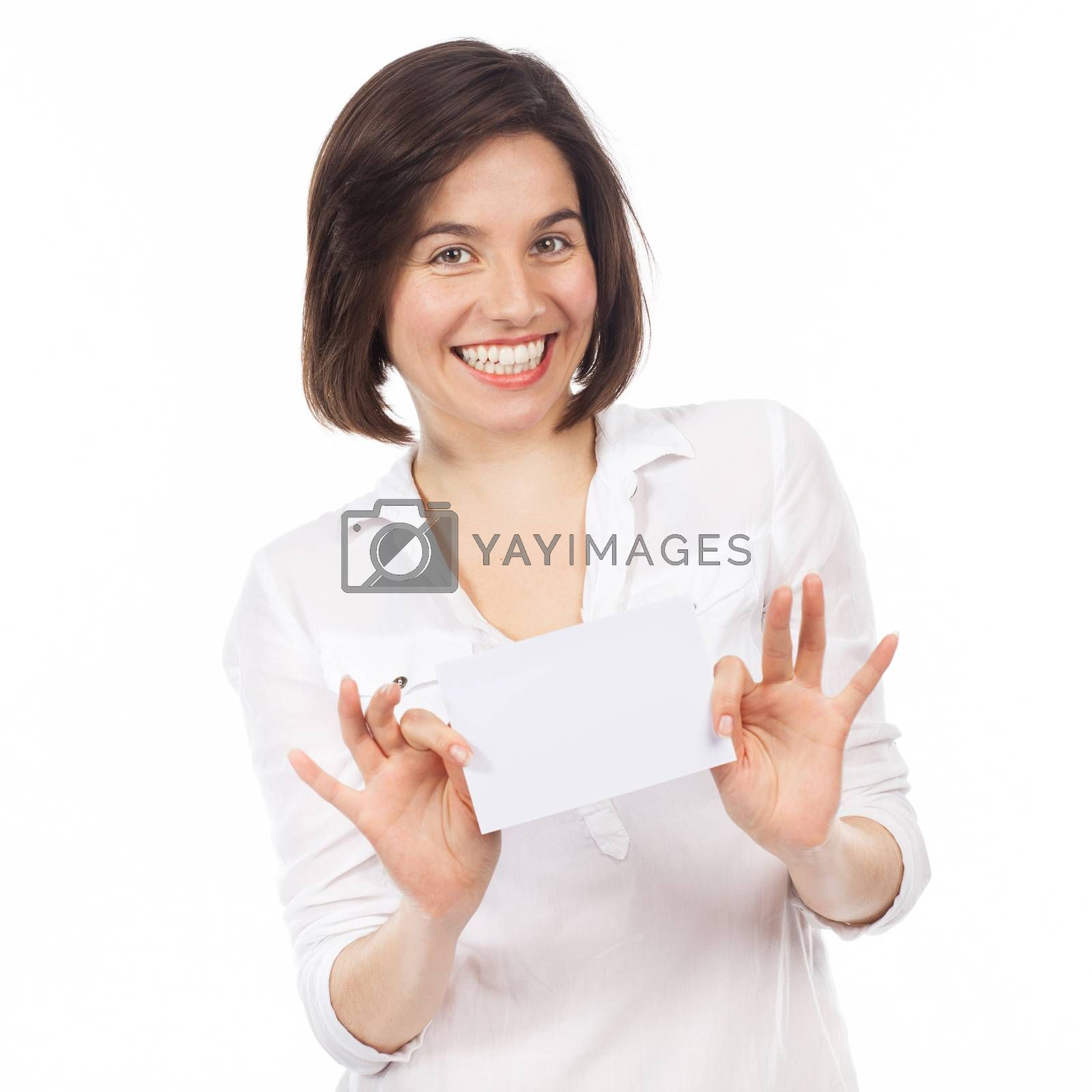 Young woman showing a white signboard, isolated on white