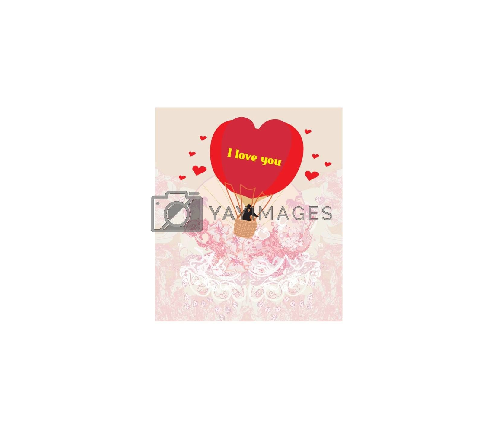 Royalty free image of Hot Air Balloon - Valentine card by JackyBrown