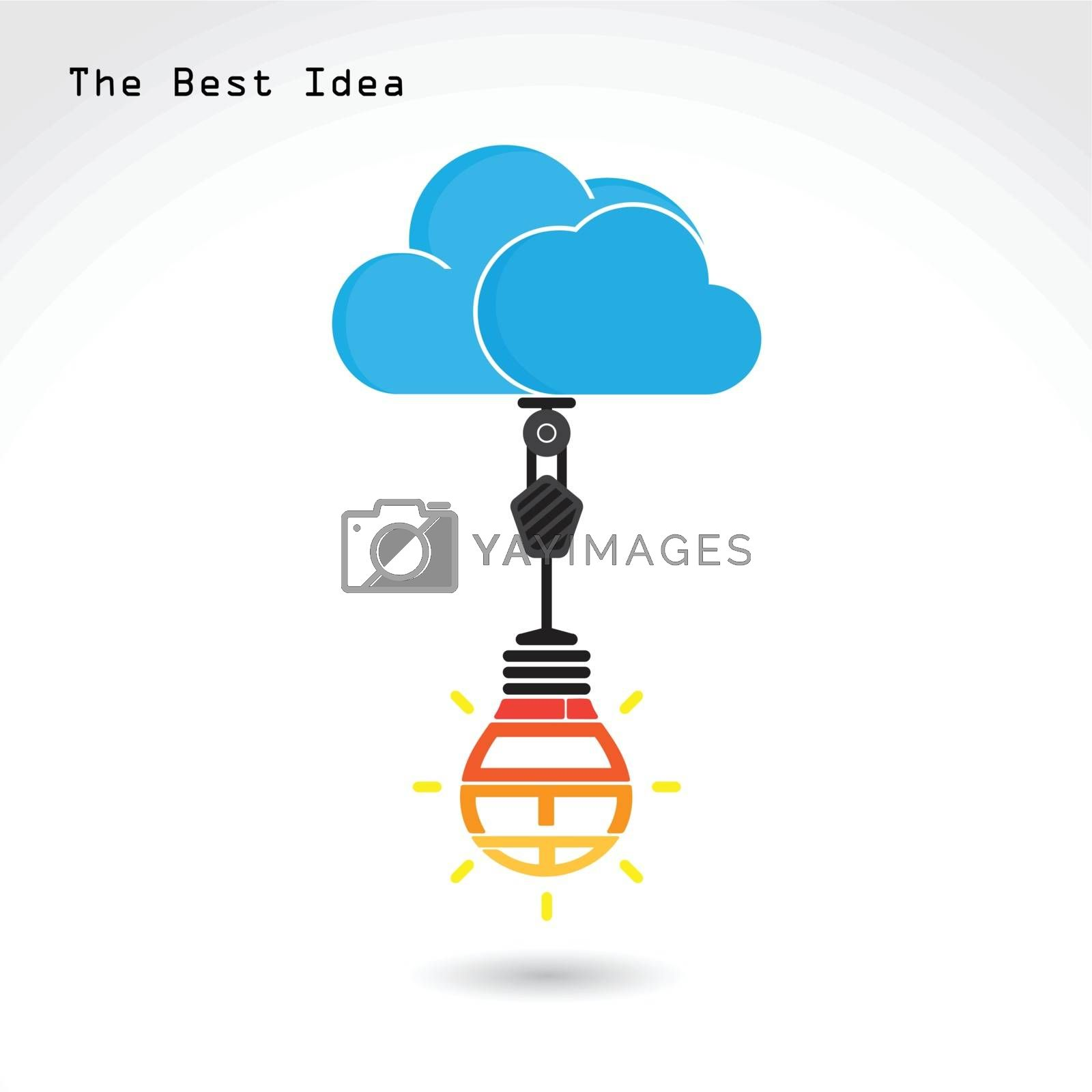 Royalty free image of Flat cloud and creative bulb by chatchai5172