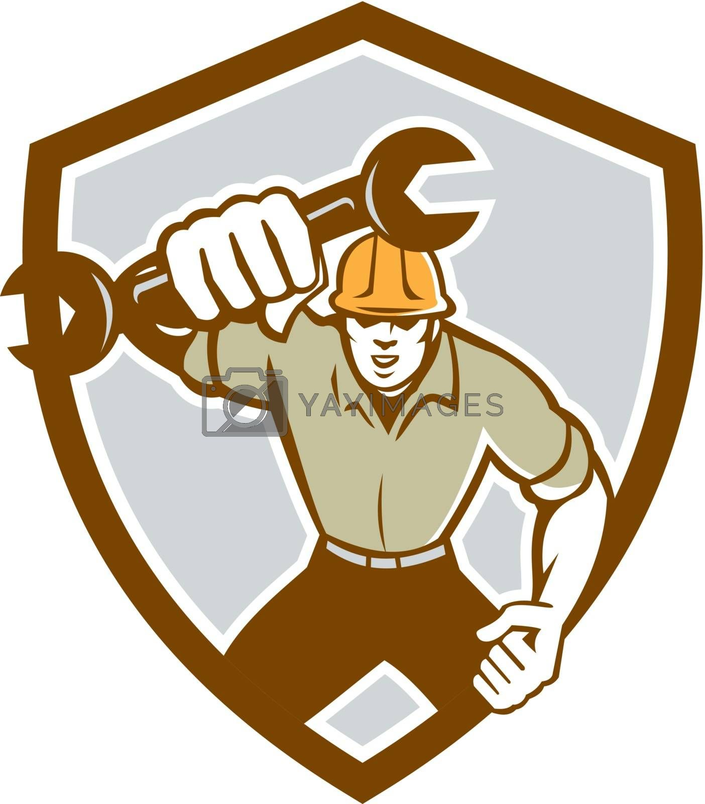 Royalty free image of Mechanic Spanner Wrench Running Shield Retro by patrimonio
