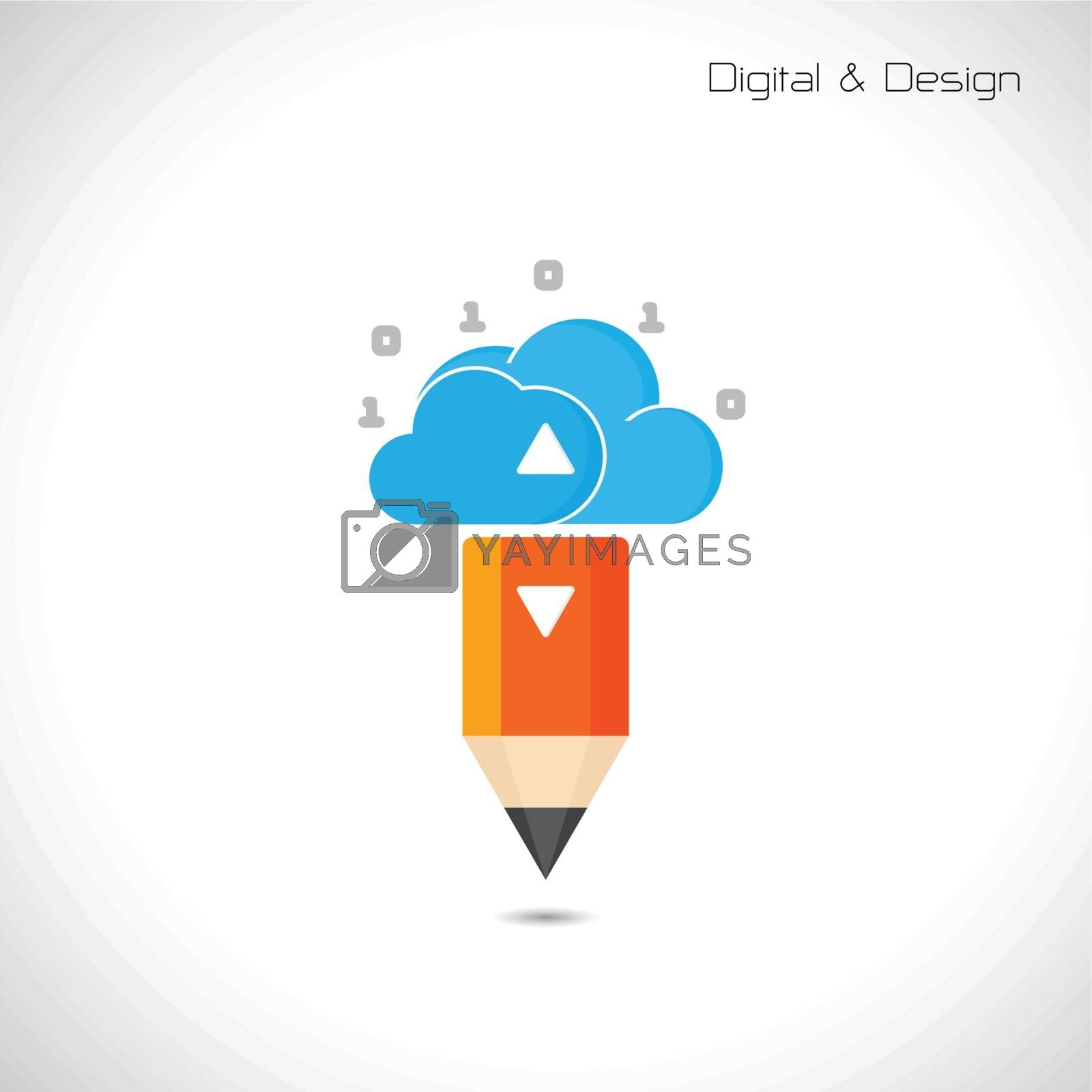 Royalty free image of Creative pencil and cloud symbol by chatchai5172