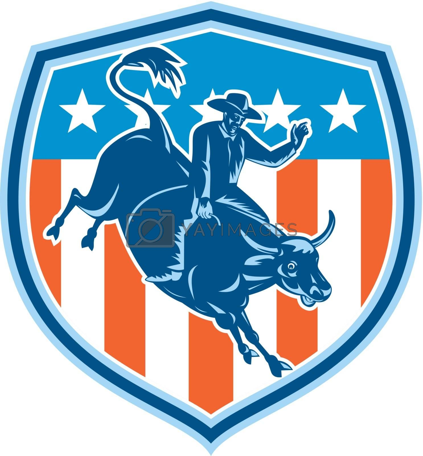 Royalty free image of Rodeo Cowboy Bull Riding Flag Shield Retro by patrimonio