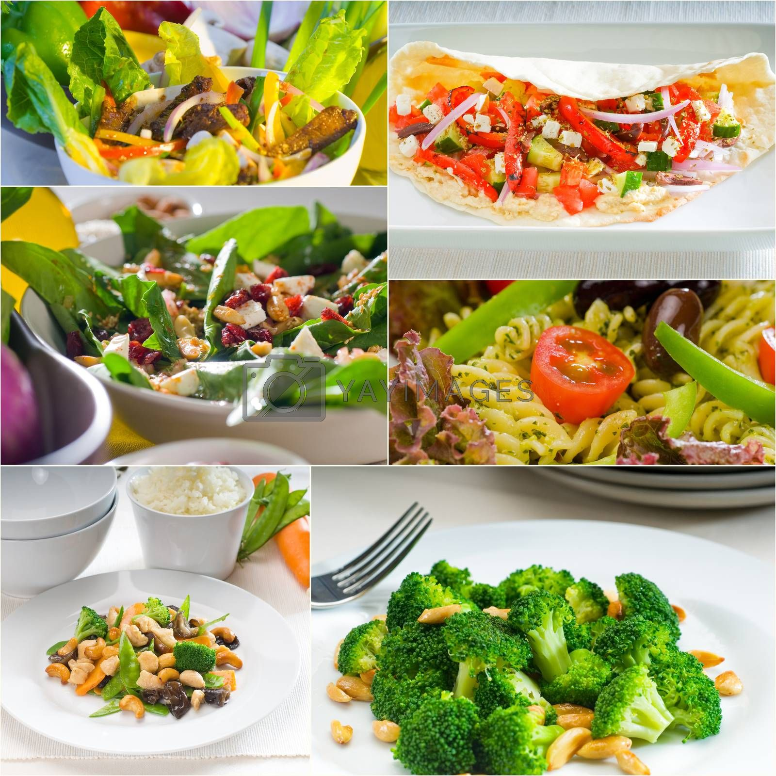 Royalty free image of salad collage composition nested on frame by keko64