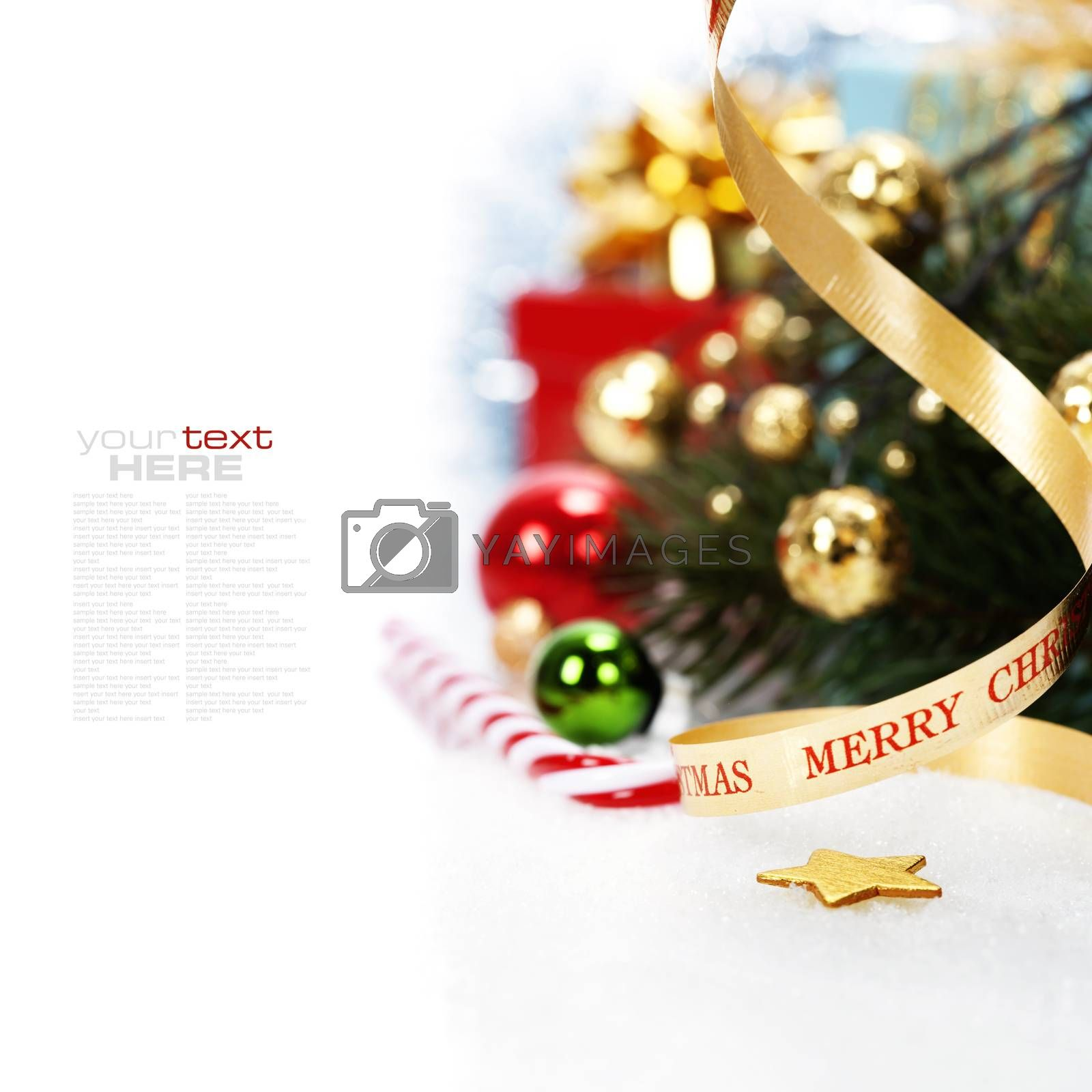 Royalty free image of Christmas ribbon bow with decorations by klenova