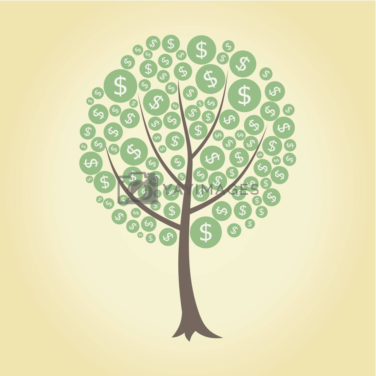 money tree on a yellow background