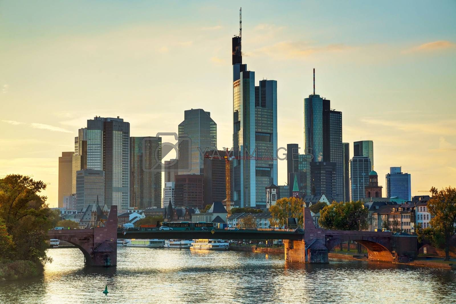 Frankfurt cityscape at sunset by AndreyKr