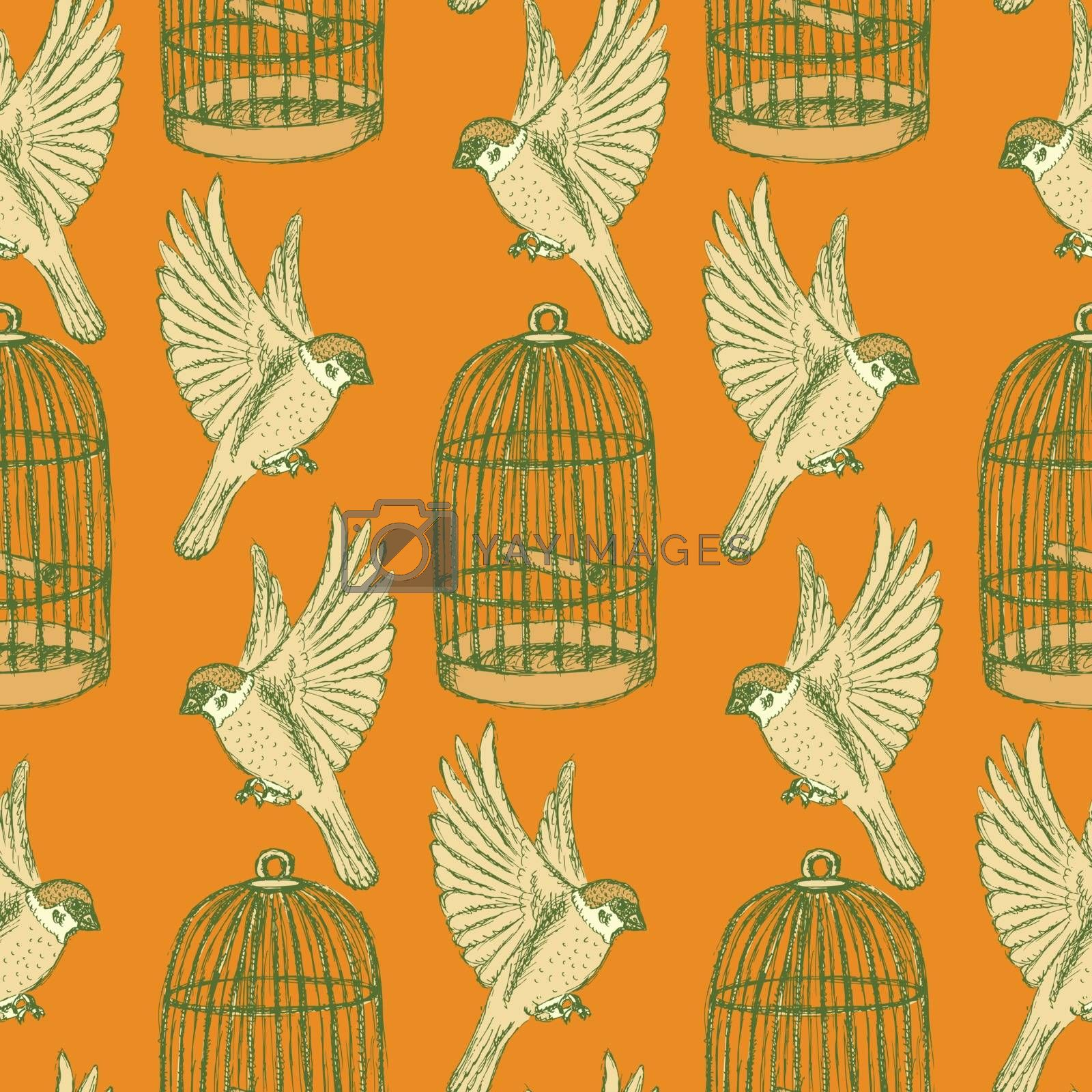 Royalty free image of Sketch bird and cage seamless pattern by KaLi