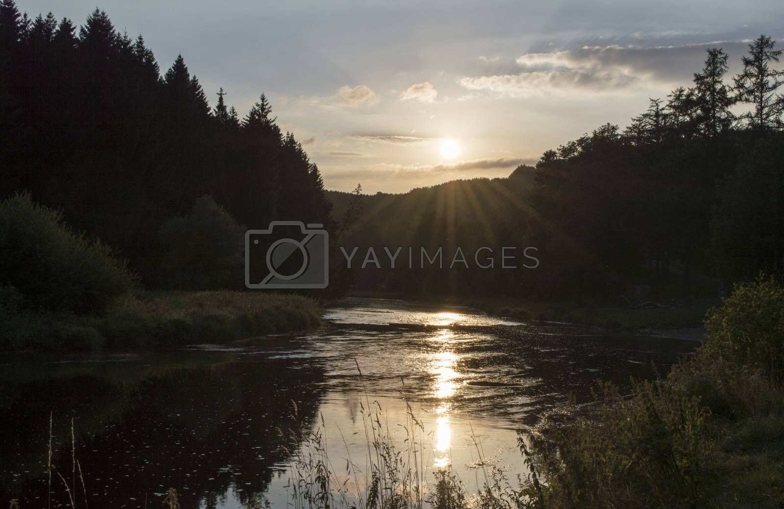 Royalty free image of sunset over the belgium river semois by compuinfoto