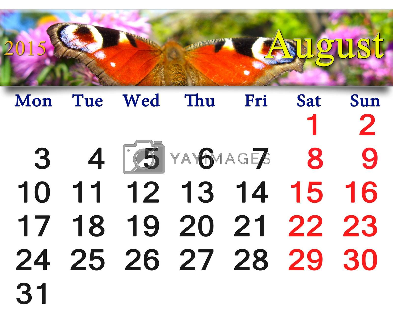 Royalty free image of calendar for August of 2015 year with peacock eye by alexmak