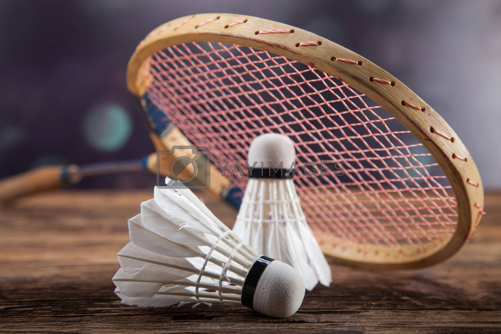 Royalty free image of A set of badminton. Paddle and the shuttlecock. by fikmik
