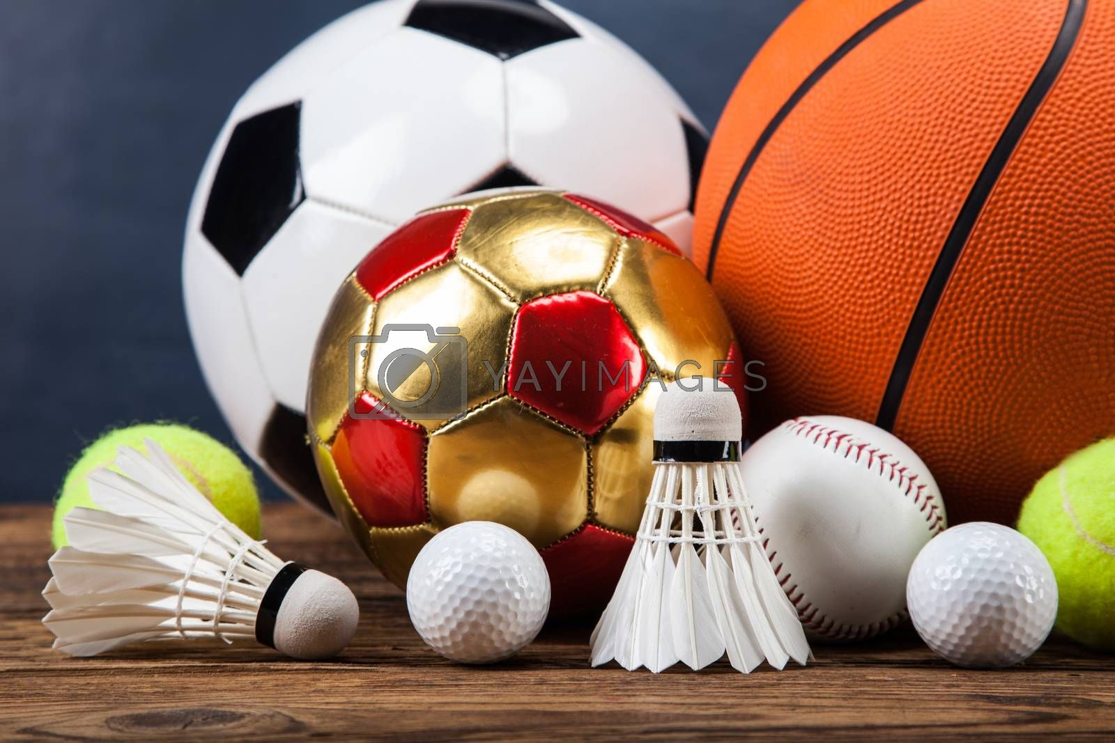 Royalty free image of Sports accessories. paddles, sticks, balls and more by fikmik