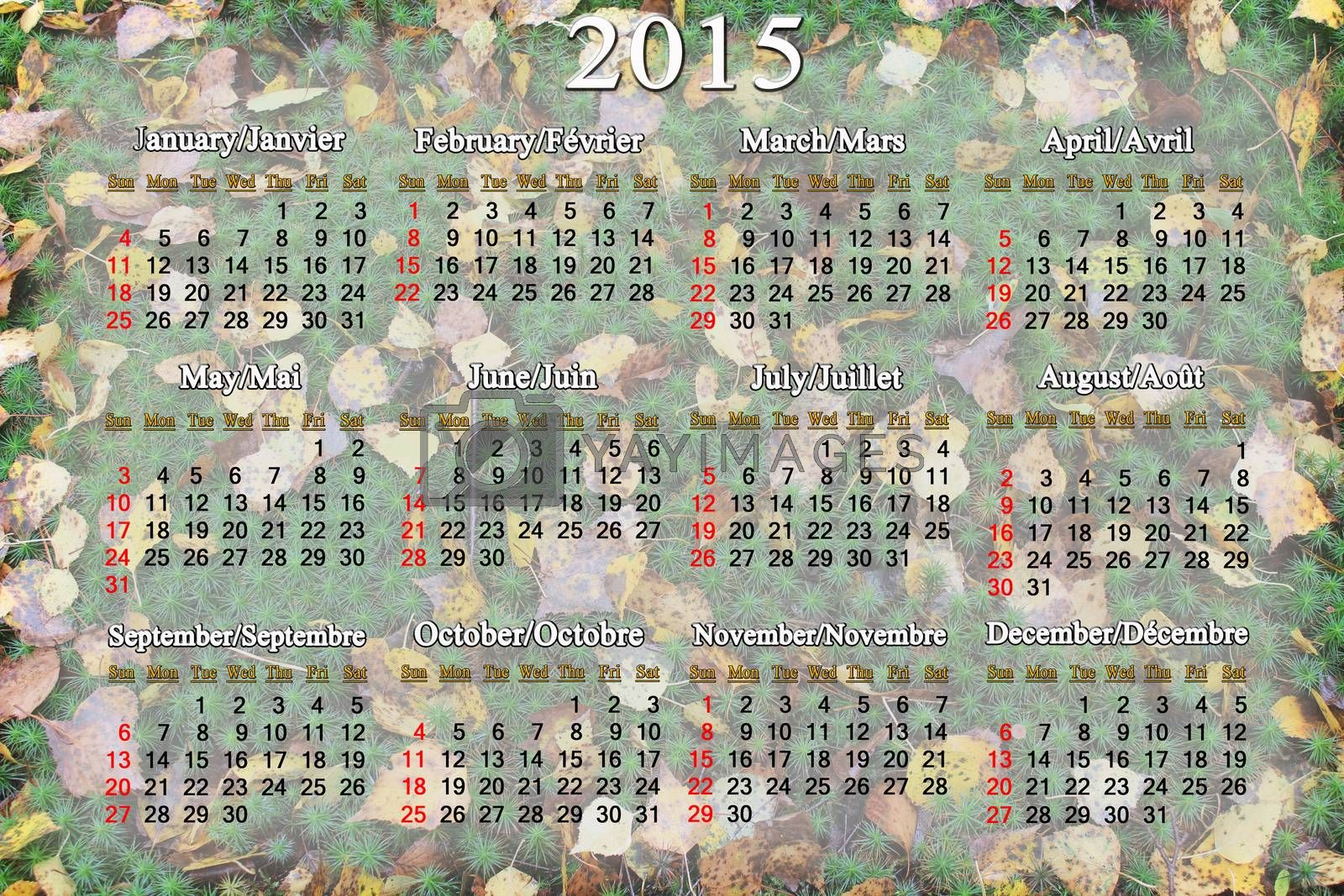 Royalty free image of calendar for 2015 year on the background of moss and leaves by alexmak