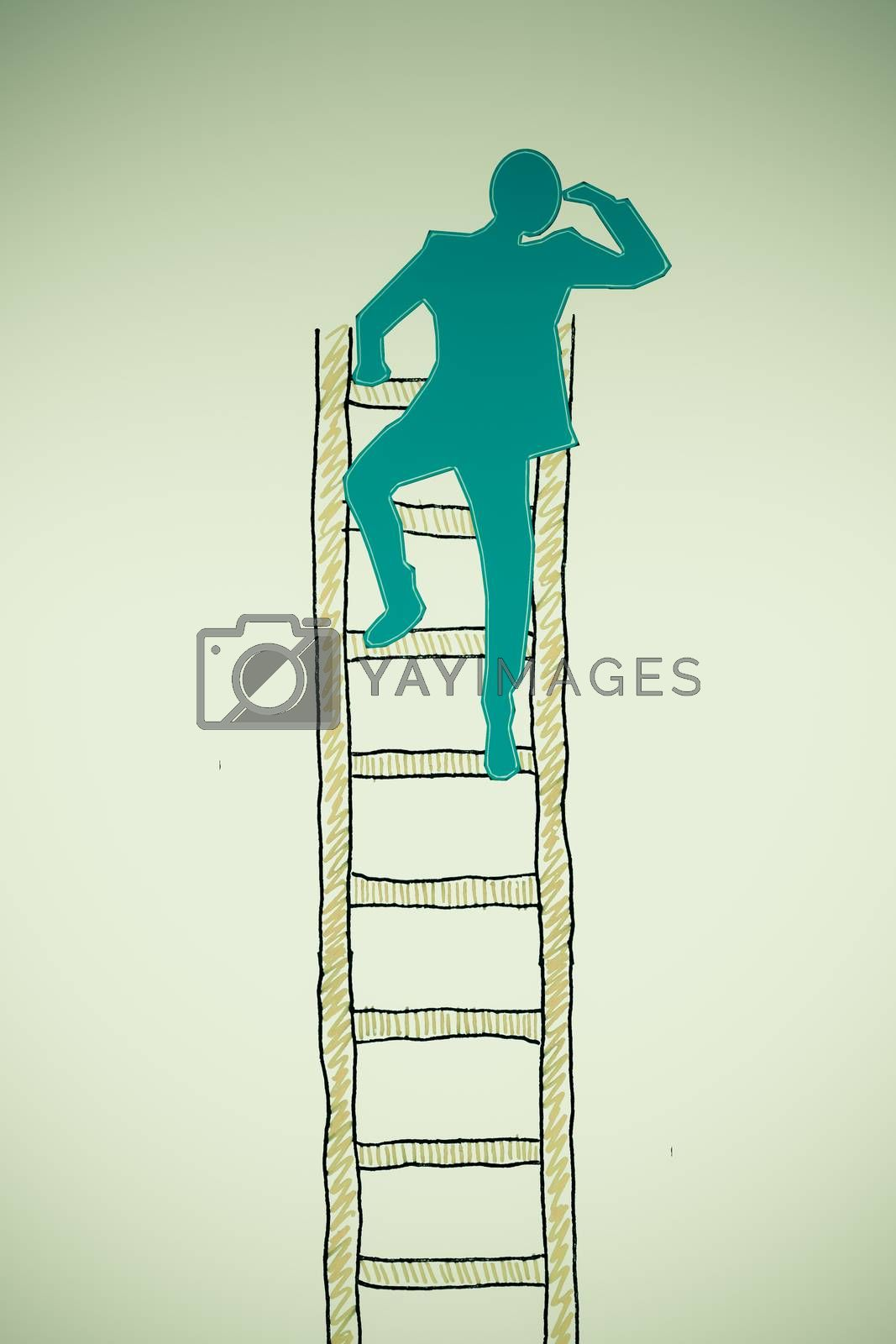 Royalty free image of Search concept, man climbing to the top of a ladder and searchin by yands