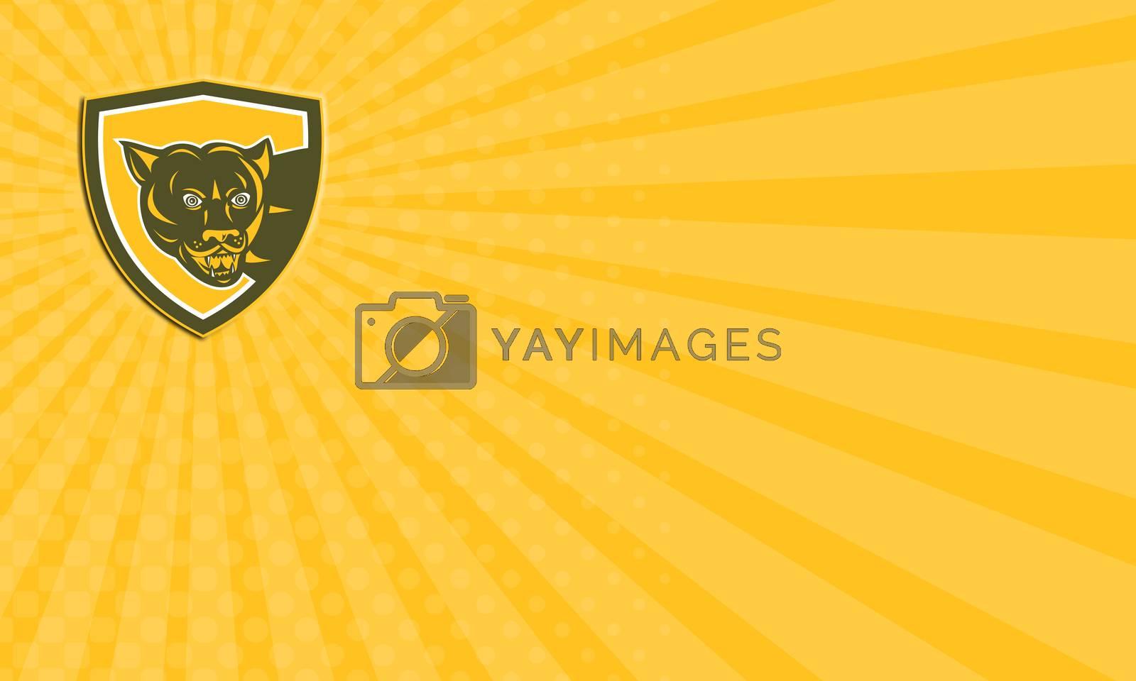 Royalty free image of Business card Puma Mountain Lion Head Prowl Shield Retro by patrimonio