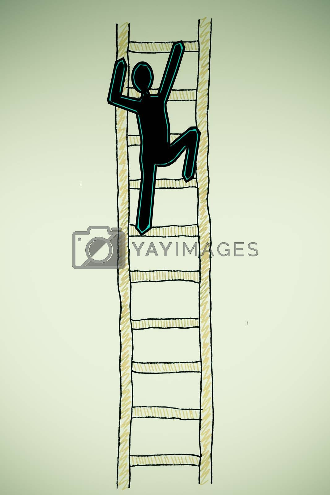 Royalty free image of Man on a Ladder, success ladder concept by yands