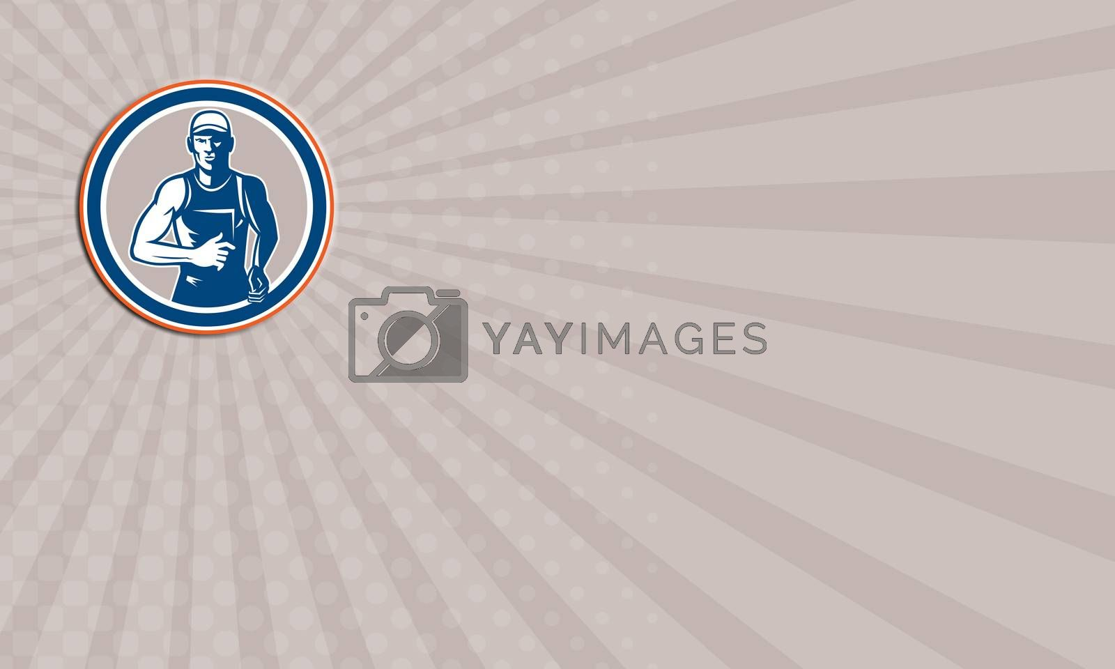 Royalty free image of Business card Marathon Runner Running Circle Retro by patrimonio