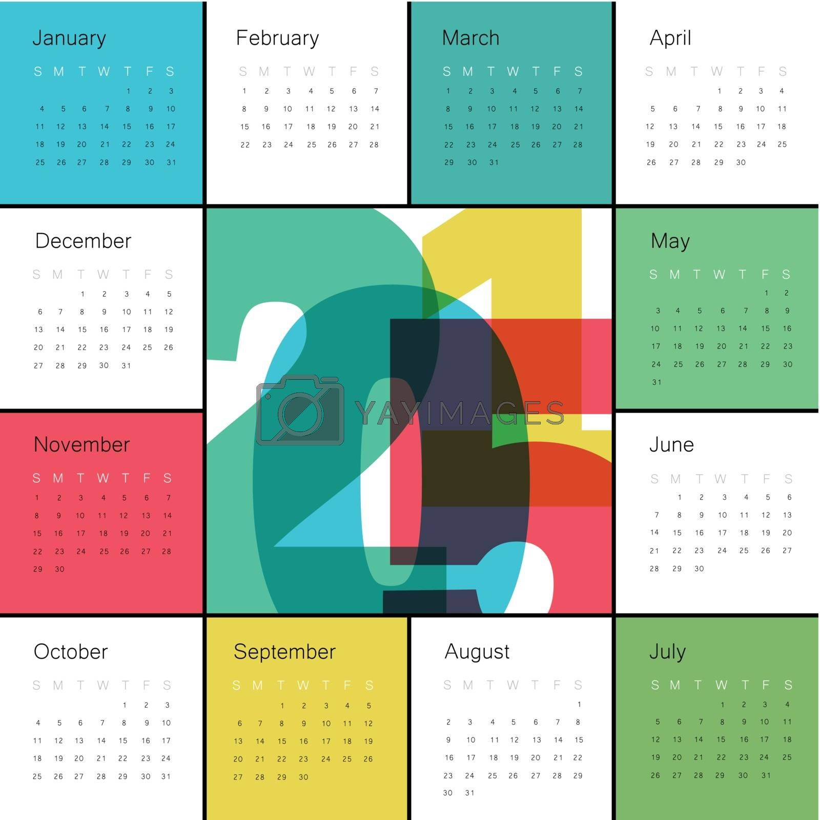Royalty free image of Calendar 2015 Colorful. Square composition by pashabo