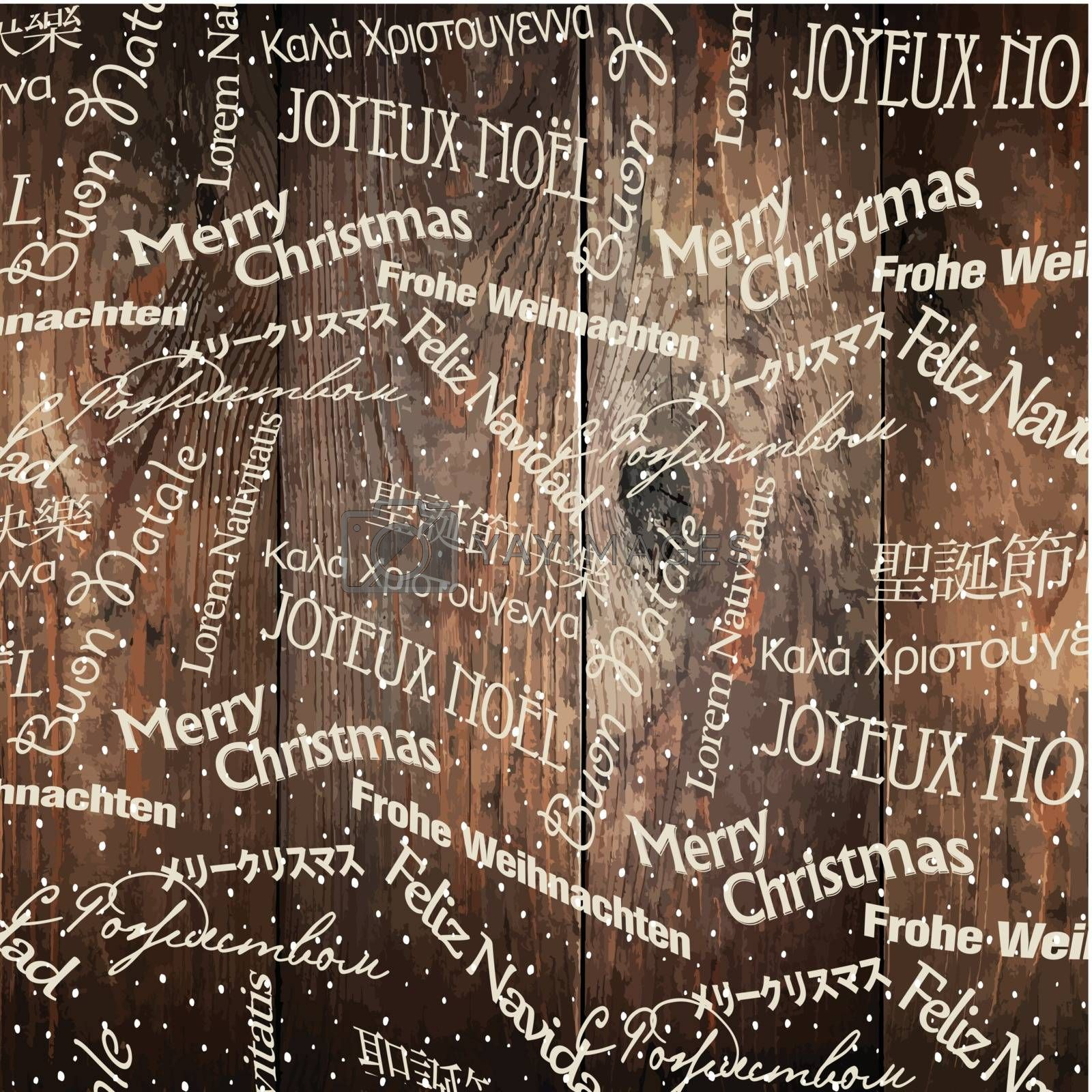 Royalty free image of Christmas Words Pattern On Wooden Wall. Vector by pashabo