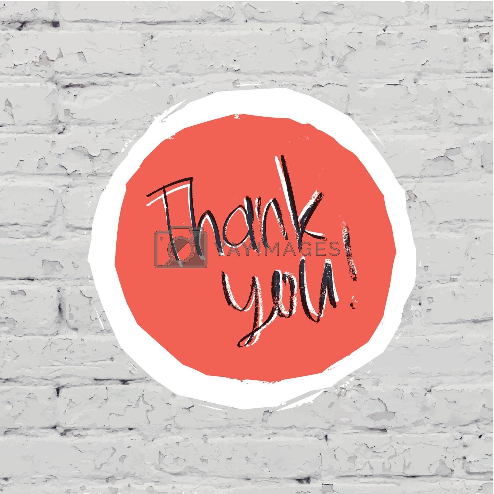 Royalty free image of Thank You Card On White Bricks Wall. Vector by pashabo