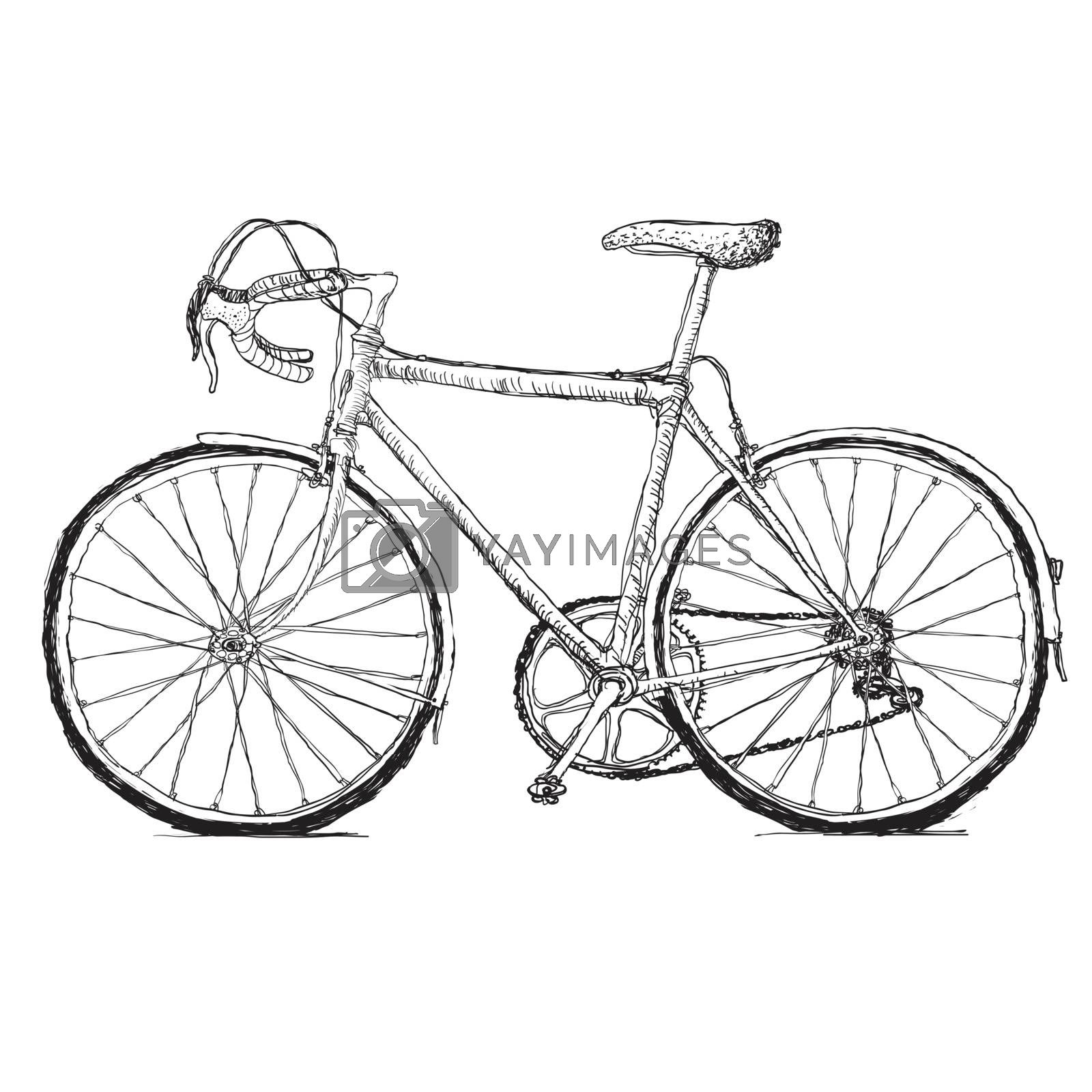 Royalty free image of Vintage road bicycle hand drawn illustration by pashabo