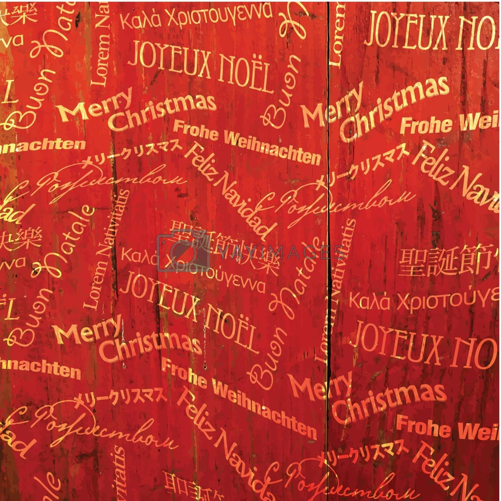 Royalty free image of Christmas Words Pattern On Red Wooden Texture. Vector by pashabo