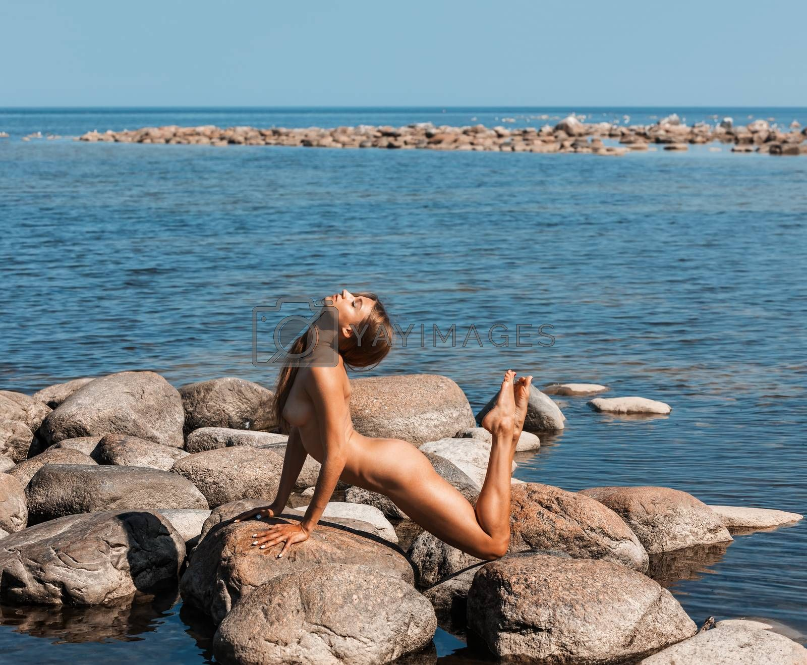 Royalty free image of  Beautiful young  nude woman by the sea by palinchak