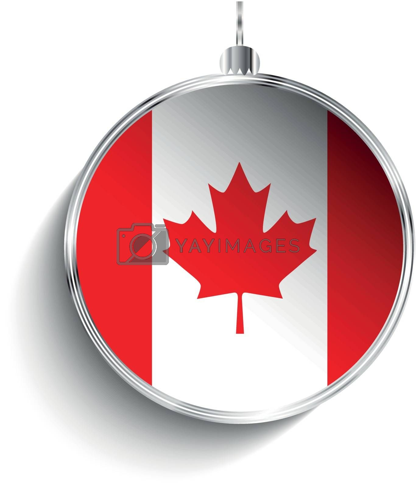 Royalty free image of Merry Christmas Silver Ball with Flag Canada by gubh83