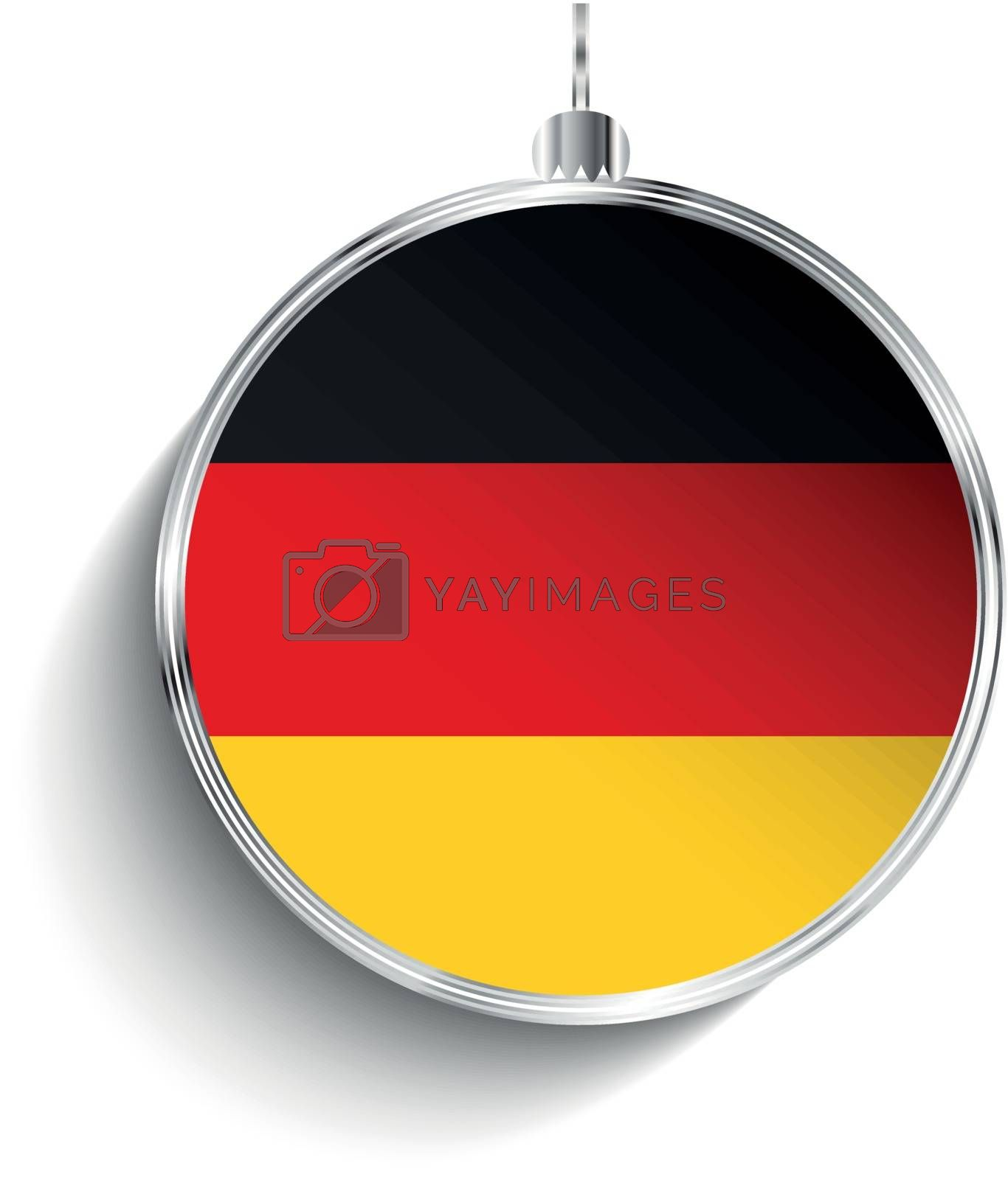 Merry Christmas Silver Ball with Flag Germany by gubh83